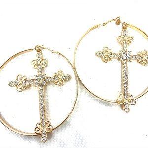Large Gold Embellished Cross Hoop Earrings